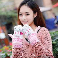 Lovely rabbit girls gloves Fluffy wool glove Halter Ladies Mittens winter warm mittens children women gloves free shipping