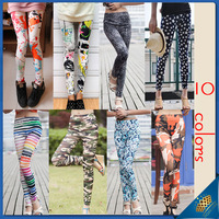 2013 New Arrival Fashion Women girl Casual Legging Pants 10 Colors with Printed Scrawl/Glaxy/Camouflage/Flower Pattern Leggings
