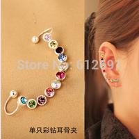 Korean color crystal ear cuffs 2015 girls u-ear clip creative fashion personality luxurious earring no pierced earrings  LM-C149