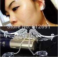 Korean earrings ear clip newest creative jewelry  angel wings no pierced ear bones clips 2pcs/lot(left+right earring)  LM-C147