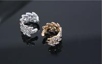 Korean hot sale No pierced Fashion personality noble luxurious Rhinestone leaf ear clip ear bones clip LM-C150