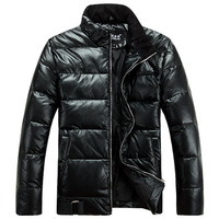 Men's clothing boy PU down coat male short winter design outerwear