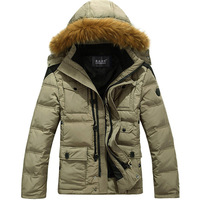 2013 male down coat men's clothing thickening with a hood fashionable casual down coat male