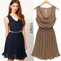 2013 elegant ladies pleated sweet slim waist chiffon one-piece dress fashion