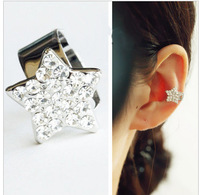 Fashion star earring flash crystal ear clip personality charms non piercing ear cuffs jewelry LM-C143