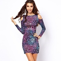 Wholesale Sexy off-the-shoulder nightclub dress for women 2013 fashion thin printed dress free shipping