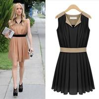 2013 fashion one-piece dress pleated slim waist tank dress short skirt denim patchwork chiffon women's
