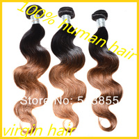 Queen Hair Products 3 Or 4pcs Mix Length Body Wave Indian Virgin Hair Ombre Hair Extensions Ombre Human Hair Weave Free Shipping