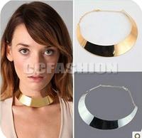Free Shipping Fashion Womens Clothing Metal Choker Collar Necklace Bib Torque Chain 2 Colors