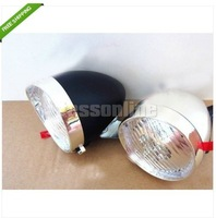 Retro LED Bicycle Bike Chrome Visor Bullet Headlamp Headlight Front & Tail Light