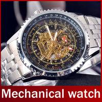 Fashion Brand Jaragar Automatic Skeleton Mechanical Self Wind Men Full Steel Watch Dress Watch For Men Vintage Analog Wristwatch