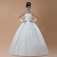 HOT 2014 Fashion Satin Yarn Tube Top Slim Princess Dress Back Big Bow Sequined Wedding Dresses Paillette Bridal Ball Gowns