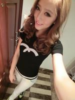 Free Shipping Women's Letter Print Short Sleeve T-shirt Shirts Tops Tees Slim Tees Black White Top Quality