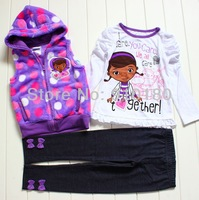 1 set retail baby girls cartoon Doc Mcstuffins kids clothes set kids vest+t shirt+leggings pants 3pcs set sports suits