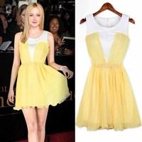 2013 spring vintage colorant match fashion pleated waist slim one-piece dress 3055