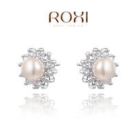 ROXI Christmaspearl Earrings,platinum plated genuine Austrian crystals 100% handmade fashion jewelry,2020268250