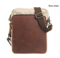 New Men's shoulder bag Messenger canvas bag crazy horse leather messenger bag men free shipping