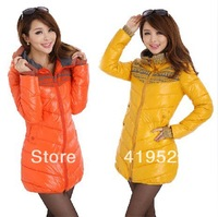 STOCK!!!2013 new arrival lady down cotton-padded jacket brand slim medium-long women's plus size winter wadded jacket