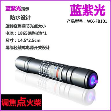 Waterproof focusers matches blue violet laser pointer 200mw 405nm violet blue laser flashlight(China (Mainland))