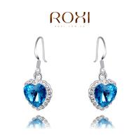ROXI Christmas heart Earrings,platinum glated Austrian crystals 100% handmade fashion jewelry,2020036735