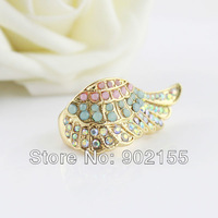 New 2013 Fashion Deaign Jewelry Colorful Simulated Gemstone  Gold Color Alloy  Wings  Wedding Rings  For Women