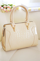 Women's 2013 women's fashion crocodile pattern handbag japanned leather sweet candy color messenger bag ladies handbag