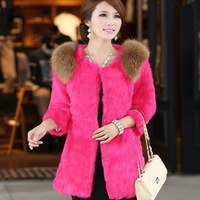 2013 faux three quarter sleeve raccoon fur slim medium-long female fur coat