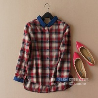 Fresh loose 100% thickening cotton plaid shirt female shirt 0.26