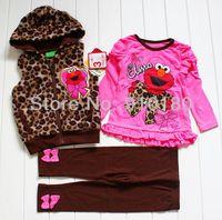 Baby girls cartoon Elmo kids clothes set fleece leopard vest+t shirt+legging pants 3pcs set winter sports suits(4 sets/lot)