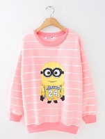 Pullovers With Round Neck Harajuku Casual Hoodies Autumn Striped Sweatshirt Fashion Cartoon Despicable Me Style