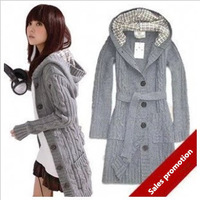 The new ladies knitted cardigan show loose female in long thin sweater jacket with hat