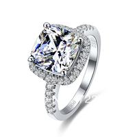 Genuine PT 950 3 Carat Cushion Cut NSCD Diamond Gold Rings ,Rings For Women Gold,Fashion Gold Ring,Pillow Cut