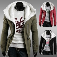 HOT! stand collar zipper thickening clip cotton-padded coat solid color casual male felty  jacket Parkas Free shipping
