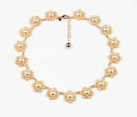 Fashion personalized accessories gold plated simulated-pearl flower sweet women's sweater necklace