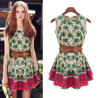 2013 New Fashion Womens Sleeveless Dress Tree leaf Flowers Printing Cotton Dress Cute Dresses For women Ladies with belt