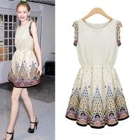 2013 New Fashion Good Quality Womens Sleeveless Dress Printing Chiffon Cute Sweet Dresses For women Ladies Free Shipping
