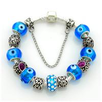 2014 New Arrival European Silver Bracelet,Beads Charm Eyes Bracelets For Women,Wholesale,19CM,20CM,21CM,PA049