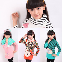 2013 female child autumn and winter outerwear female child plus velvet basic shirt female child winter long-sleeve lengthen top