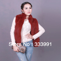 2013 autumn and winter fashion leisure true rabbit fur vest fur vest sleeveless leopard natural rabbit hair women winter jacket