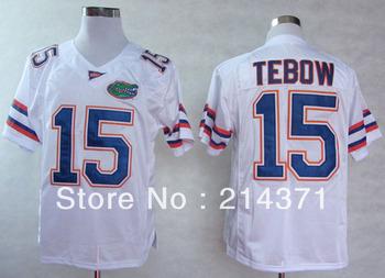 Free shipping - Florida Gators  #15  Tim Tebow  White  College Football Jerseys size: 48-56