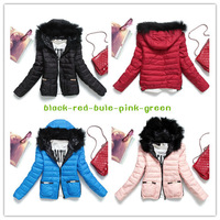 2013 winter outerwear wadded jacket women's slim large fur collar with a hood design short cotton-padded jacket thickening