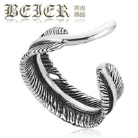 Beier lovers ring thai silver vintage 925 pure silver open ring feather pinky ring