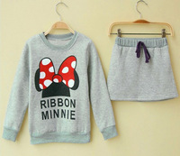 Warm 2014 spring New Children Girl's 2PC Sets baby Suit girls Minnie Mouse top+Skirt Clothing sets girls autumn clothes