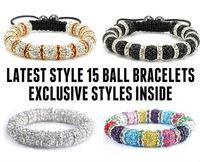 Fashion Disco Shamballas bracelets 10mm 15balls Crystal Disco ball  Macrame Bracelet 50pcs Mix Color