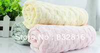 Hot Sale Cotton Bamboo Fiber Solid Color Dobby Check Style Home Face Towel Soft Hotel Towel 2pcs/lot Free Shipping