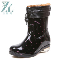 Women's polka dot rain boots female knee-high plus velvet thermal rainboots female fashion jelly water shoes rain shoes thermal
