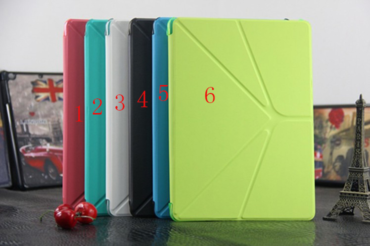 For iPad Air 5 Triangle Stand durable pu leather translucent matte plastic Cover Case Wake / Sleep Function Case For iPad 5(China (Mainland))