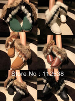 fur snow boots women winter ankle boots for women 2013 flat snow boots rabbit fur fox fur snow boots free shipping