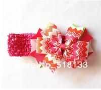 New Arrival 30PCS/lot Baby Girls Elastic Crochet Tutu Headbands with 4'' Pinwheel Hair Bow,Boutique Kids Hair Flowers Hair Bands