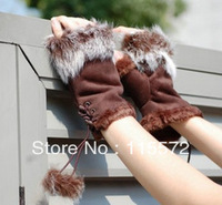 2013 Lady Autumn winter rabbit fur semi-finger thermal fingerless plush thickening cotton hand wrist gloves mittens for keybord